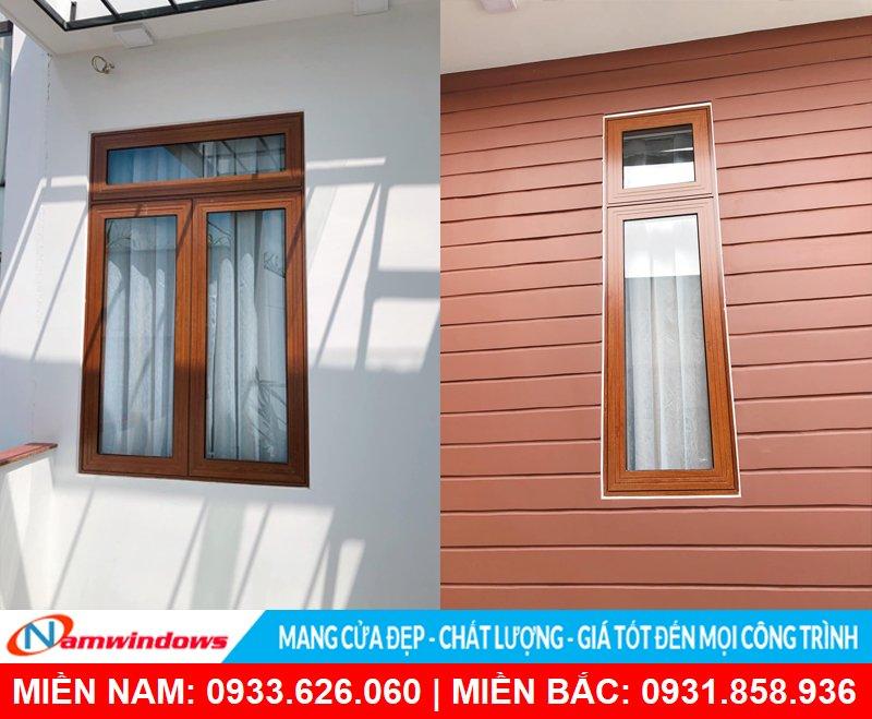 Mẫu cửa sổ mở hất 1 cánh và mở quay cho cửa sổ nhôm xingfa vân gỗ