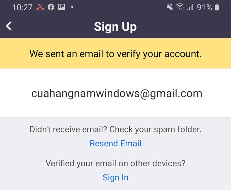 Xác nhận Email đăng ký Zoom