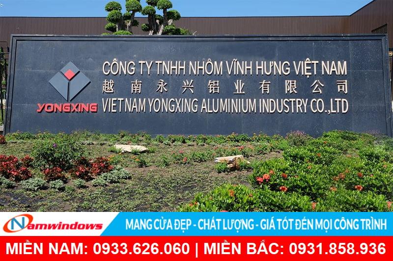 Công ty tnhh nhôm Vĩnh Hưng sản xuất nhôm Yongxing tại Việt Nam