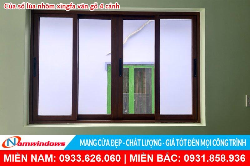 Cửa sổ 4 cánh lùa nhôm xingfa vân gỗ