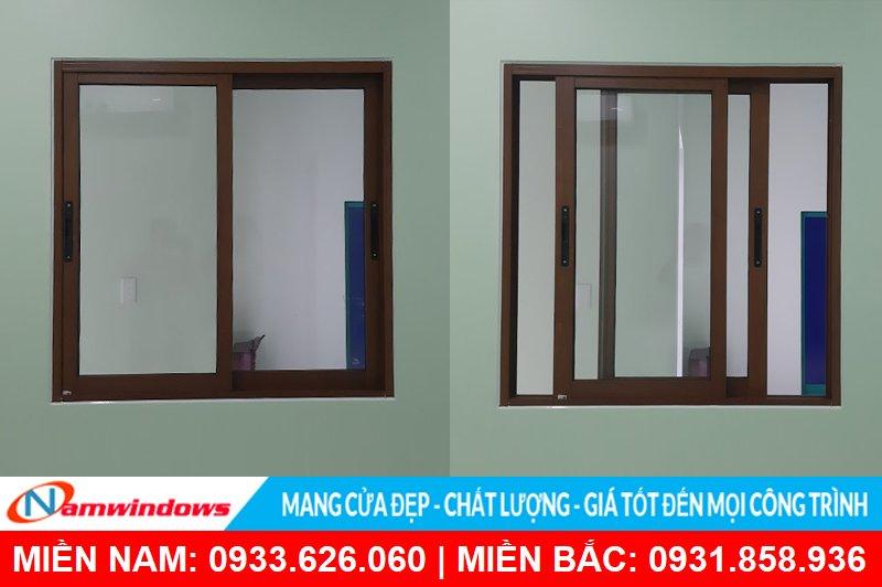 Cửa sổ 2 cánh lùa nhôm xingfa vân gỗ