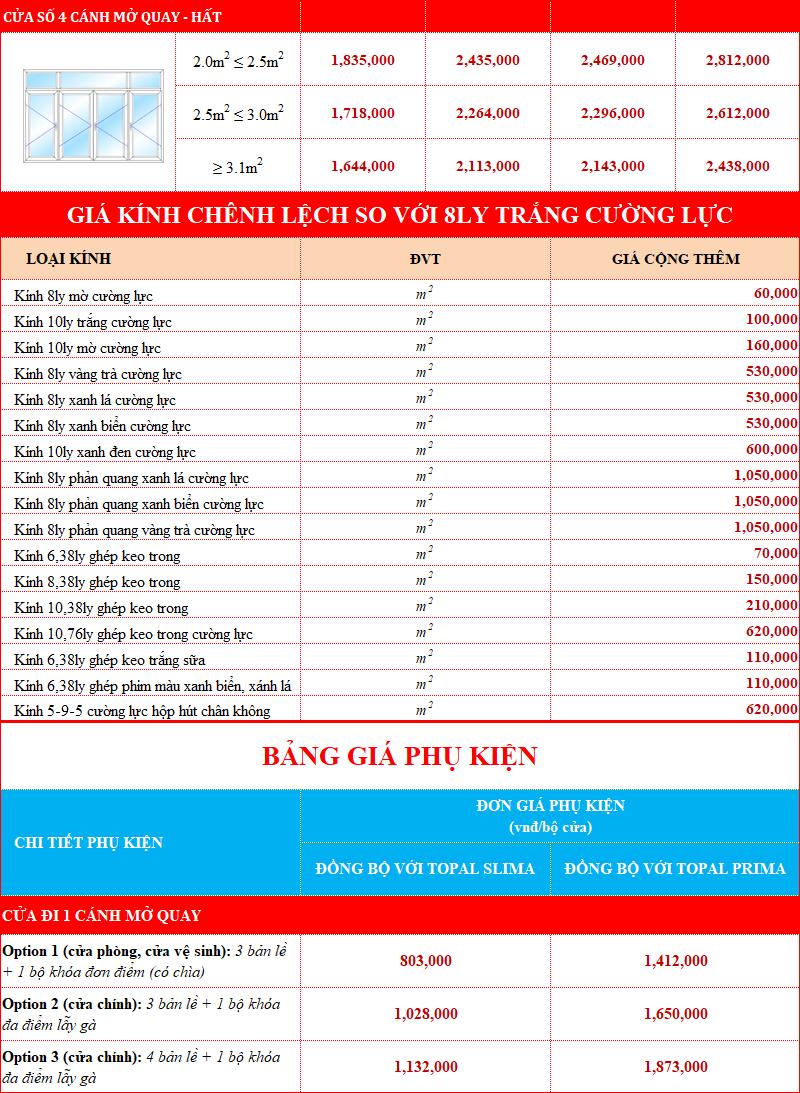 Giá cửa nhôm Topal Prima và Topal Slima