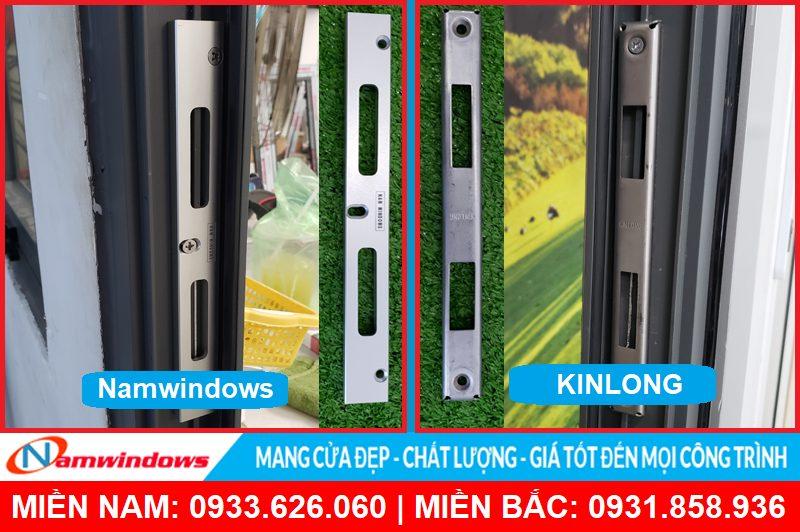Sự khác nhau rõ rệt về thẩm mỹ và sự đồng bộ giữa linh kiện của Namwindows và hãng Kinlong