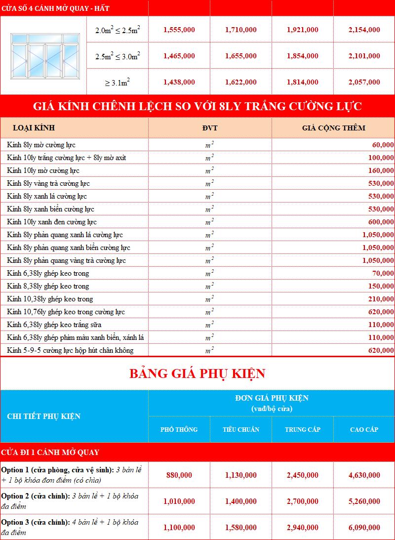 Giá phụ kiện cửa nhôm Xingfa Namwindows