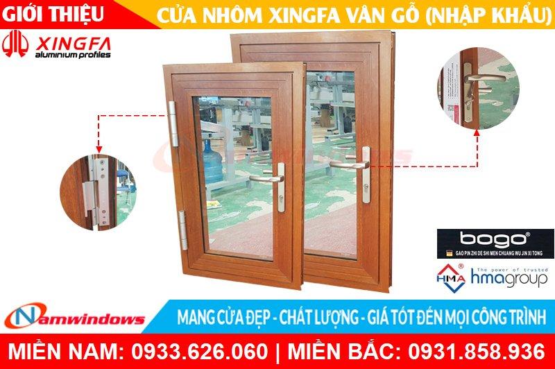 Mẫu cửa nhôm xingfa vân gỗ nhập khẩu