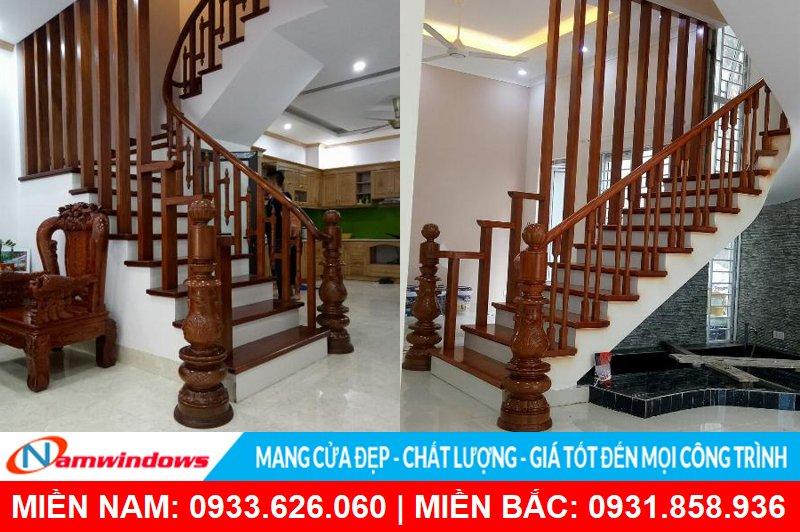 Lan can cầu thang gỗ đẹp