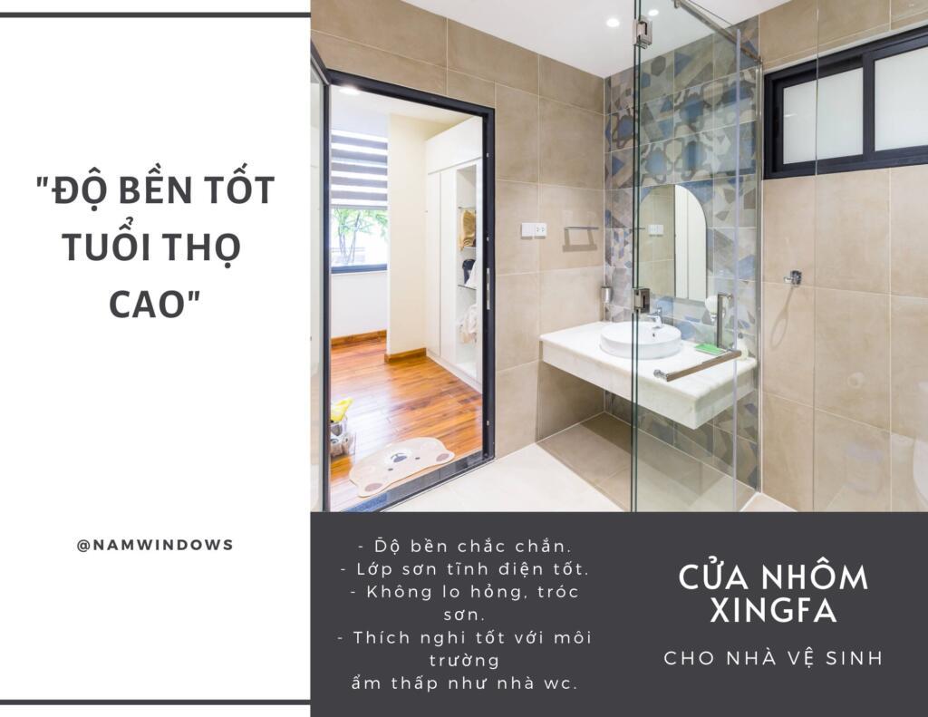 Cửa nhôm nhà vệ sinh có độ bền tốt