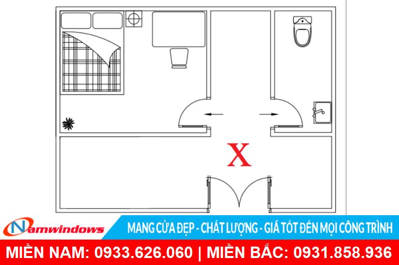 Cửa phòng ngủ không nên đối diện với cửa vệ sinh