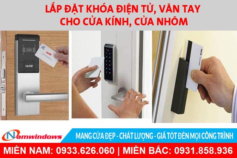Lắp đặt khóa điện tử, vân tay cho cửa kính, cửa nhôm tại TP.HCM