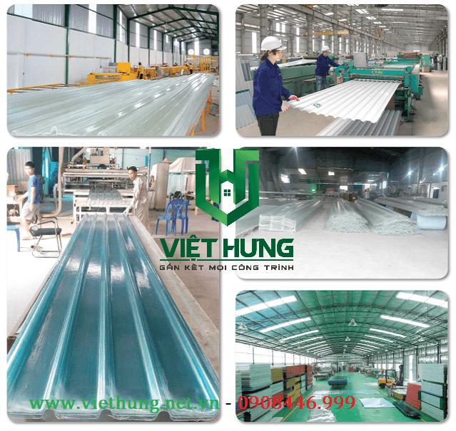 Nhà máy sản xuất tôn nhựa lấy sáng sợi thủy tinh Composite Việt Hưng